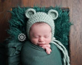 Little Bear Bonnet Hat, Photo Prop, Newborn