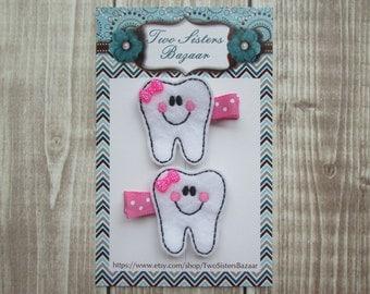 Tooth Hair Clip, Tooth Feltie, Girls Hair Clip, Toddler Hair Clip