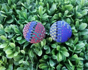 Aztec- Handmade Fabric Button Earrings