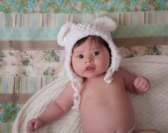 Newborn fuzzy bear hat
