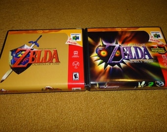 N64 Legend of Zelda Ocarina of Time and Legend of Zelda Majora's Mask Hard Clam shell cases (cases and reprinted manuals only)