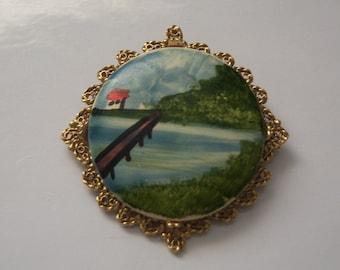 Hand Painted Ceramic Brooch. Seaside Brooch.