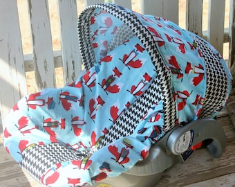 teal foxes and black and white houndstooth infant car seat cover and hood cover w/headsupport and straps bundle 1