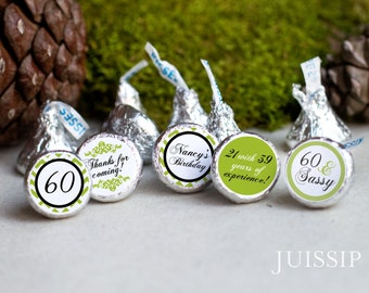Printed personalized hershey kiss sticker Hershey kiss label Birthday Party favor Anniversary Ready to use Chevron Customized Party Decor