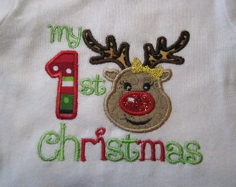Ready to Ship ~ My 1st Christmas Baby Girl Reindeer with Bow ~ Onsie 0-3 Months