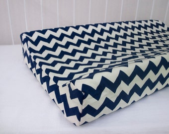SALE! 30% OFF! Cream and  Navy Blue Chevron Changing Pad / Mat Cover