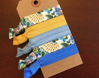 Blue Floral Hair Tie Set- Bridesmaid Gift- Emi Jay Inspired