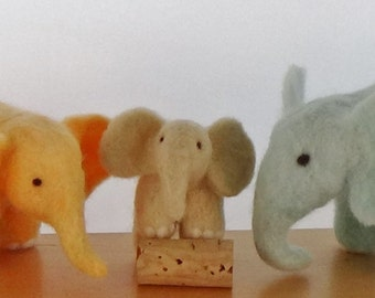 Needle felted elephant soft sculpture set of three