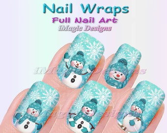 Winter Nail Wraps, Christmas Waterslide Full Nail Decals, Stickers, Snowman