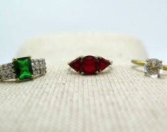 Lot of Vintage  Gold-Tone Costume Rings with Crystal Stones