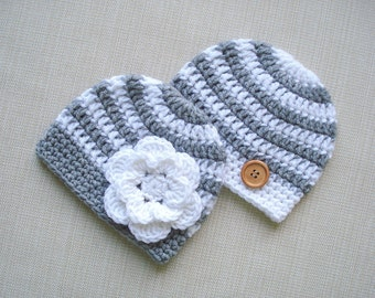 Newborn twin hats, Twin boy and girl hats, Twin photo props, Twin newborn hats, Baby boy girl twins hats, Baby beanie hat, Twins Baby gifts