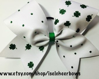 Custom rhinestones and glitter 4leafclovers St. Patrick's cheer bow