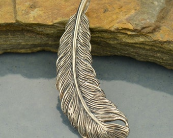 Large Sterling Silver Feather Pendant