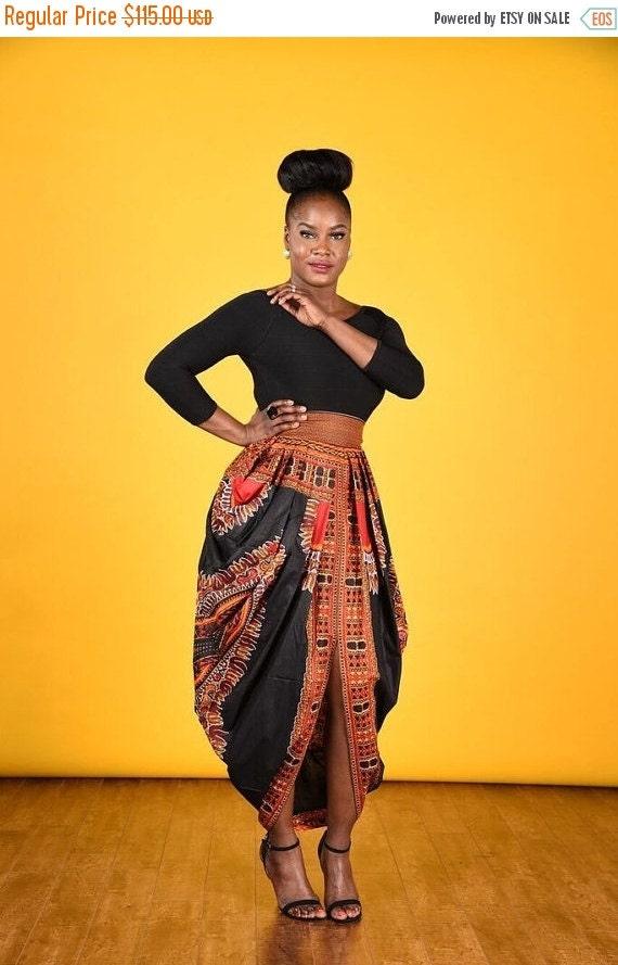 SUMMER SALE Dashiki Harem Skirt-Black