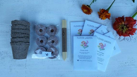 Gardening kit orange flower seed diy kit organic garden for Gardening gifts for men