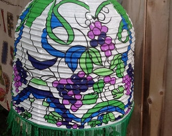 vintage paper lantern withe with green tassles and purple grapes model (GG)