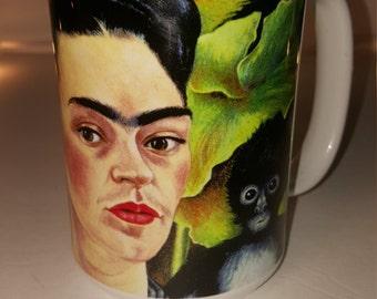 Coffee or Tea Mug - Frida Kahlo Self Portrait w/ Monkeys 1943