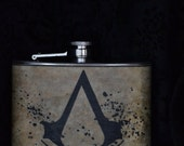 Assassins Creed, Game Controller, Gears of War. 4oz- Stanless Steel Flask