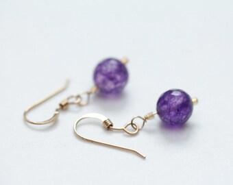 amethyst earrings / amethyst jewelry / february birthstone jewelry birthday gift small dangle earring / small purple drop earring #1256