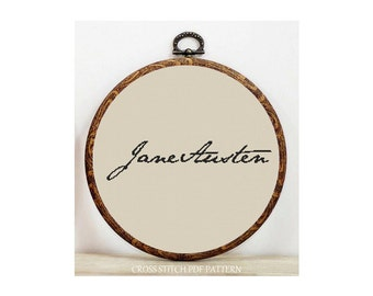Jane Austen- Signature-Cross Stitch Pattern-Modern Sampler-Pdf-Instant Download