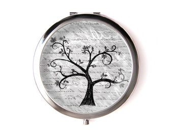 Tree of life pocket mirror  & Organza pouch