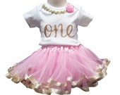 First Birthday Outfit Girls Pink & Gold Tutu Set[TUPGTU]