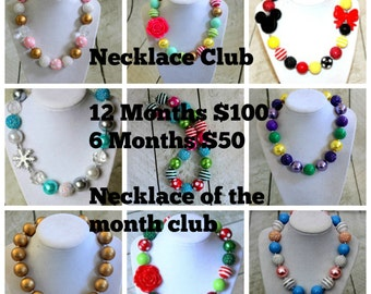 Bubblegum chunky necklace Club Necklace of the month for girls Chunky bubblegum bead necklace cheap necklaces toddler girls free necklace