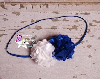 Mini Royal Blue White Satin Tulle Flower Skinny Headband, Baby Girl, Flower Headband, Small Flower Headband, Preemie Headband - SB-038