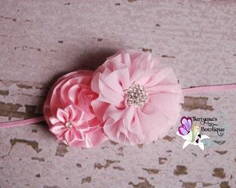 Pink Chiffon Satin Flower Rhinestone Headband, Flower Girl, Spring Headband, Baby Toddler Girl Woman - SB-018