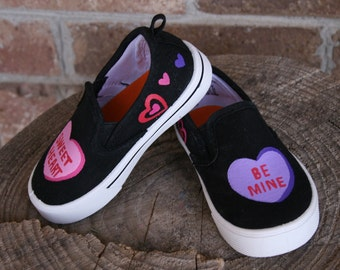 VALENTINES SHOES, Hand painted shoes, kid shoes, toddler shoes, Size 2-12 Heart Shoes