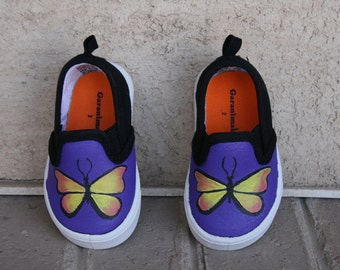 HAND PAINTED BUTTERFLY Shoes, girl shoes, Toddler and Child Sizes