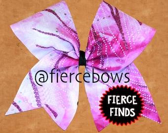 Fuchsia Ombre and Glitter Cheer Bow