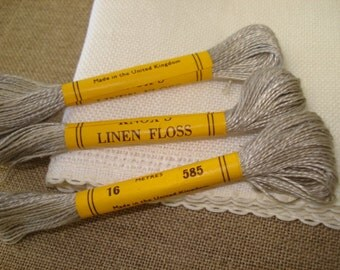 3 Vintage Skeins of Knox's Linen Embroidery Floss Thread #585 Oatmeal B