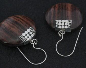 Wooden earrings with sterling silver 925. Sterling Silver wood earrings