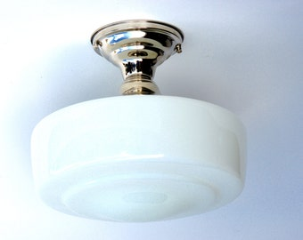 Schoolhouse Large White Glass Shade Flush Mount or Semi Flush Mount Fixture Milk Glass