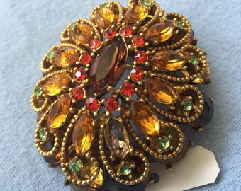 Vintage Dome Brooch Pin - Red Yellow and Green Rhinestones - Signed Capri