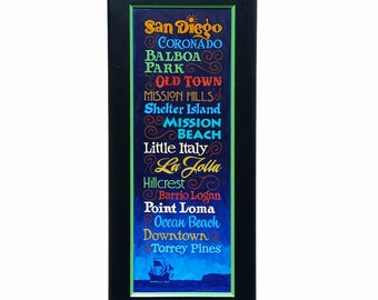 San Diego points of interest hand painted sign