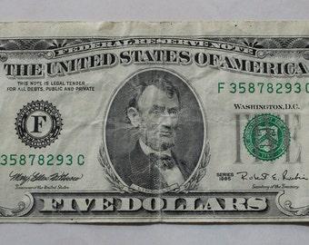 1995 Old 5 Dollar Bill - Bottom part misscut - sku 293
