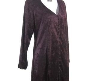 VINTAGE VELVET DRESS, Long sleeve velvet dress,  50s Style, vintage dress, burgundy velvet dress, buttoned velvet dress, womens dress