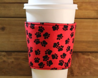 Fabric Coffee Cozy / Red Paw Print Coffee Cozy / Paw Print Coffee Cozy / Coffee Cozy / Tea Cozy