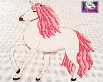Unicorn with pink hair (32) cross stitch pattern chart mythical magical pdf instant download printable