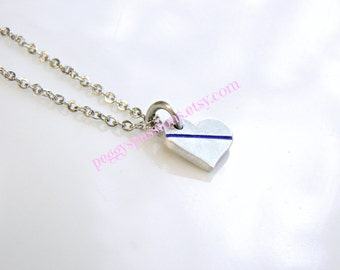 Thin Blue Line... Small Petite Heart Shaped Pendant. Leo's & Corrections, Proud Female, Wife, Mother,Daughter.