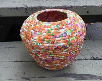 Orange Fabric Coiled Basket