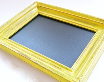 Bright Yellow Framed Chalkboard, Chalk Board, Hand Painted, Repurposed Frame, Home Decor, Decorations, Gift, Kids Room