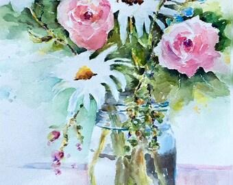Bouquet vase of Flowers pastel roses daisies large original watercolor painting