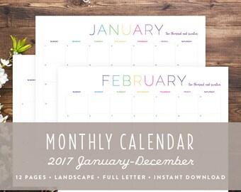 Printable Monthly Calendar 2017 | Landscape | DIY monthly home organization: Instant Download