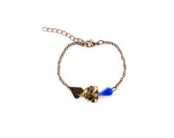 Leopard Heart & Drop Charm Bracelet