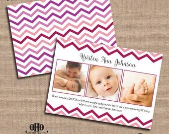 CUSTOM Baby Announcement - Simple Girly Chevron