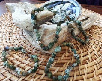 Tumbled Rainforest Jasper stretchy bracelet ~ One Reiki infused gemstone bead bracelet
