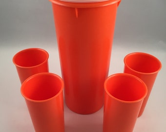 Orange Tupperware Juice Pitcher with Set of 4 Small Tumblers, Orange Tupperware, Tupperware Pitcher, Tupperware Tumblers, Tupperware Juice